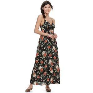 NWT Trixxie Floral Polka Dot Cut Out Maxi Dress